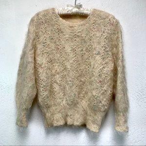 Unique Vintage Multicolored Angora Knit Sweater